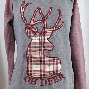 Maurices Womens S Oh Deer Christmas Plaid LS Top
